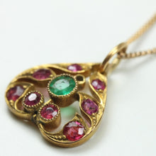 Antique 22ct Yellow Gold Ruby And Emerald Pendant with Chain