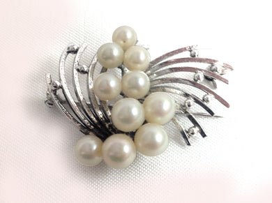 Silver and Cultured Pearl Brooch