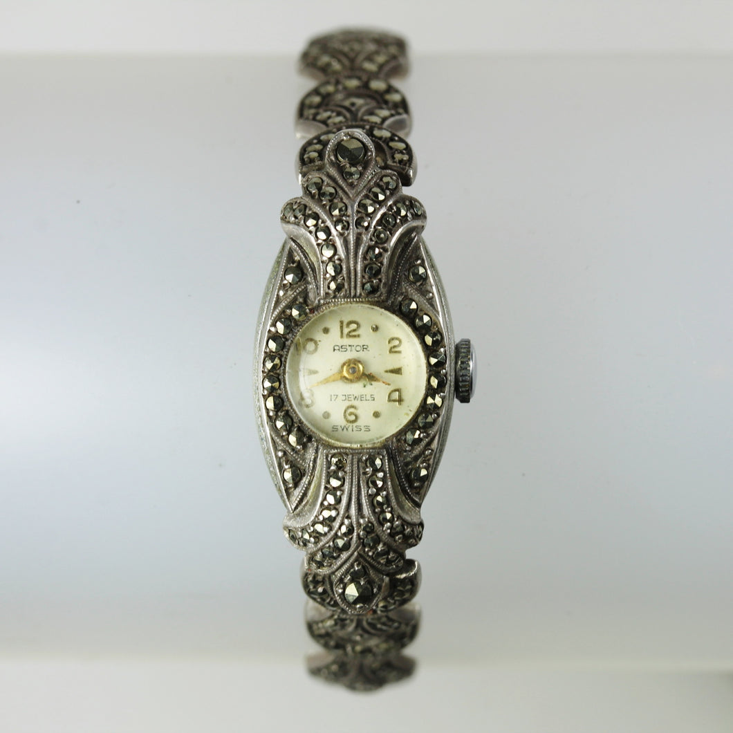 Astor Ladies Marcasite Art Deco Wind Up Watch
