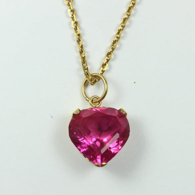 20ct Yellow Gold Heart Shaped Synthetic Sapphire Necklace