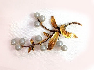 Gold and Pearl Brooch in a Branch Design