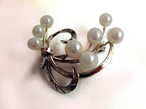 Silver and Pearl Brooch with Etching