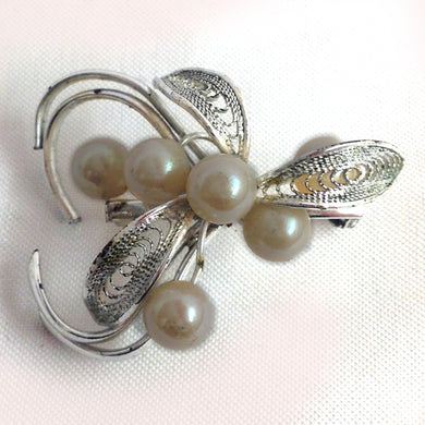 Art Deco Revival Sterling Silver Brooch with Pearls