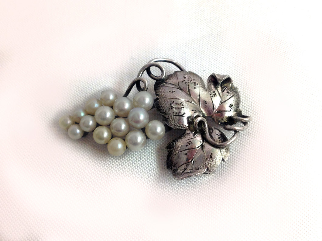 Silver Grape Cluster of Cultured Pearls Brooch