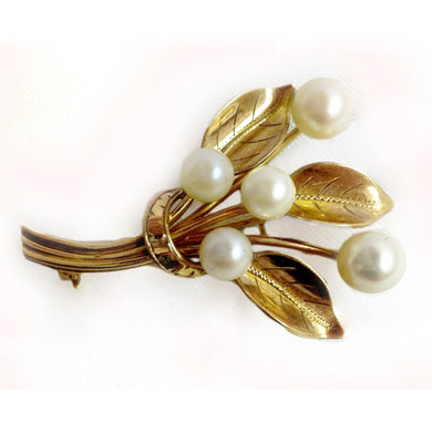 Antique 9ct Yellow Gold Cultured Pearl Vine Brooch