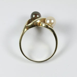 10ct Yellow Gold Black And Brown Fresh Water Pearl Ring