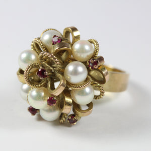 Elaborate 14ct Yellow Gold Freshwater Pearl and Ruby Ring