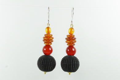 Sterling Silver Amber and Whitby Jet Sheppard Hook Earrings