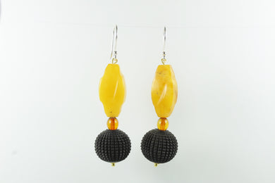 Sterling Silver Amber Ebony Sheppard Hook Earrings