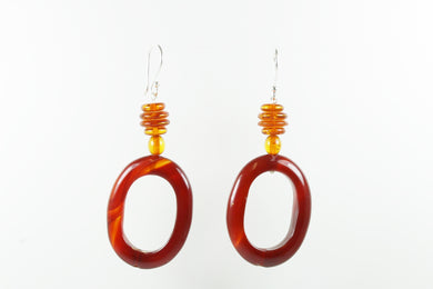 Sterling Silver Amber Agate Sheppard Hook Earrings
