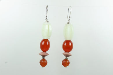 Sterling Silver Jadeite Carnelian Sheppard Hook Earrings