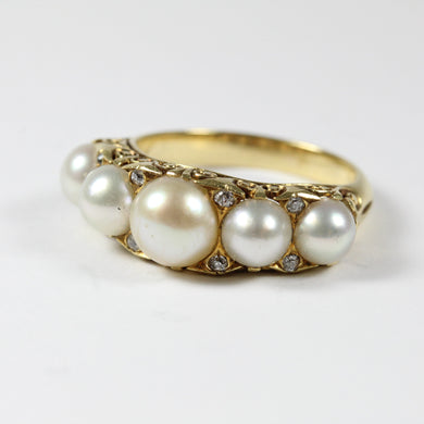 Elaborate 18ct Yellow Gold Pearl and Diamond Ring