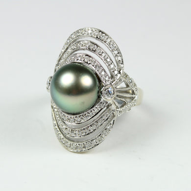 Elaborate 18ct White Gold Pearl and Diamond Ring