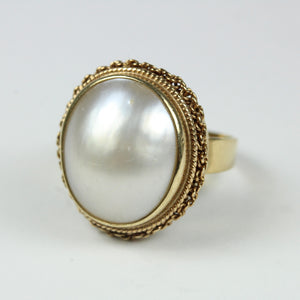 Elegant 9ct White Gold Large Pearl Ring
