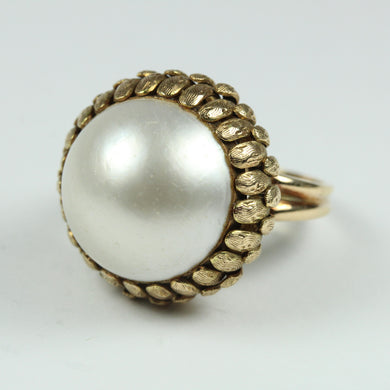 Elaborate 14ct Yellow Gold Large Pearl Ring