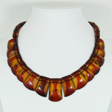 Art Deco Cognac Amber Necklace With Gold Clasp