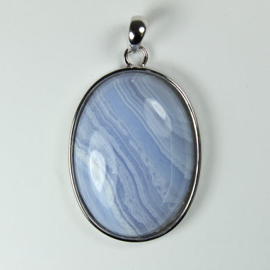 Sterling  Silver Oval Blue Agate Pendant