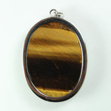 Sterling  Silver Oval Tigers Eye Gemstone Pendant