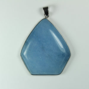 Sterling Silver Pentagon Shaped Blue Chalcedony Pendant