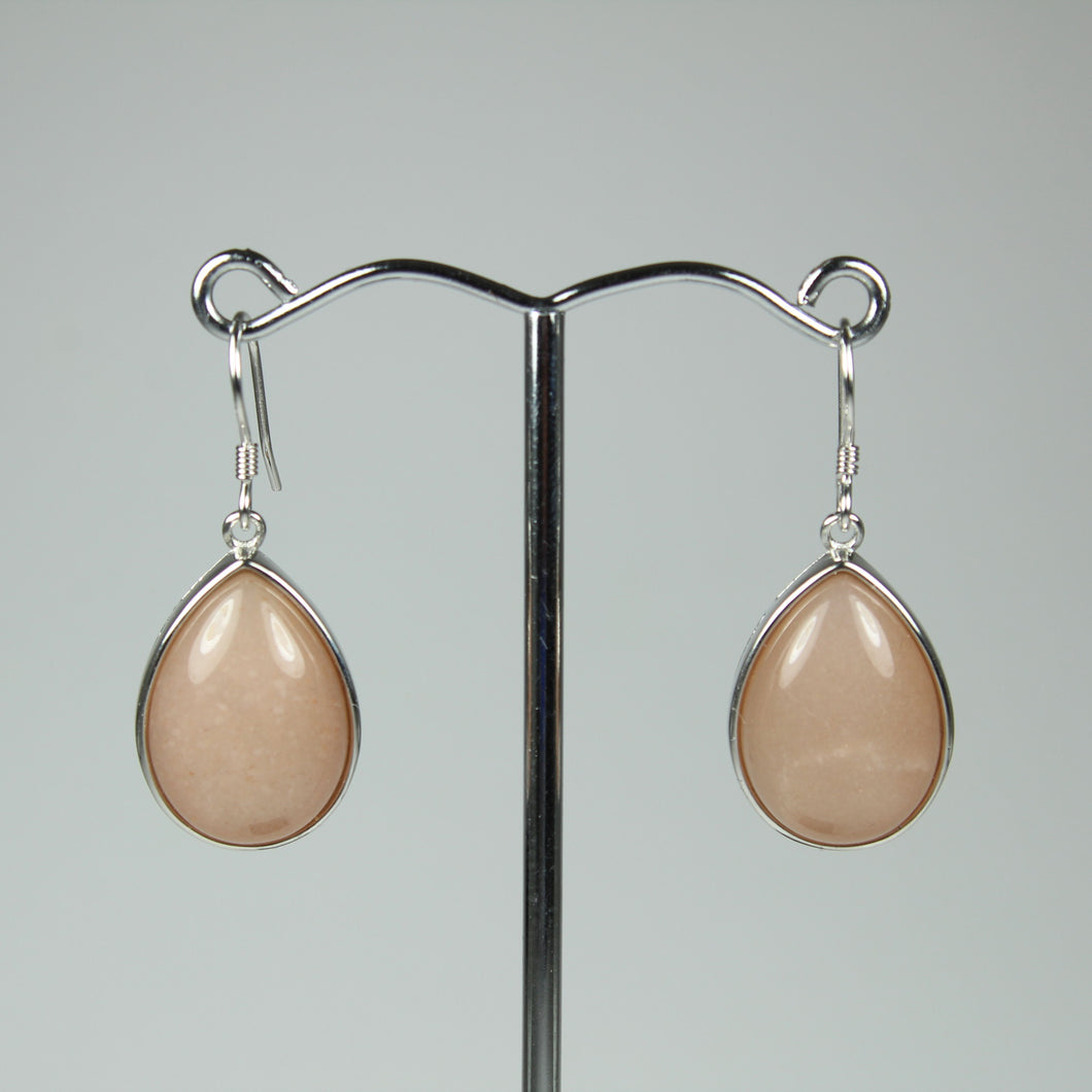 Sterling Silver Drop Shaped Pink Moonstone Earrings