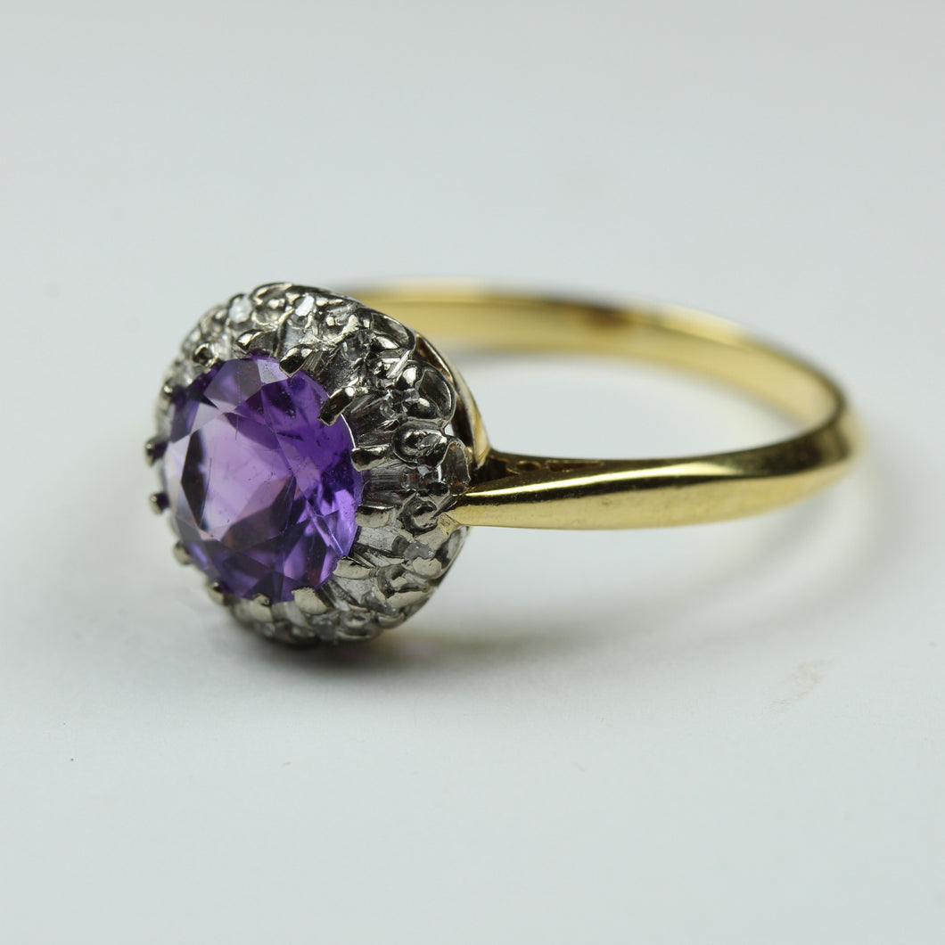 18ct Yellow Gold With Platinum Amethyst And Diamond Ring