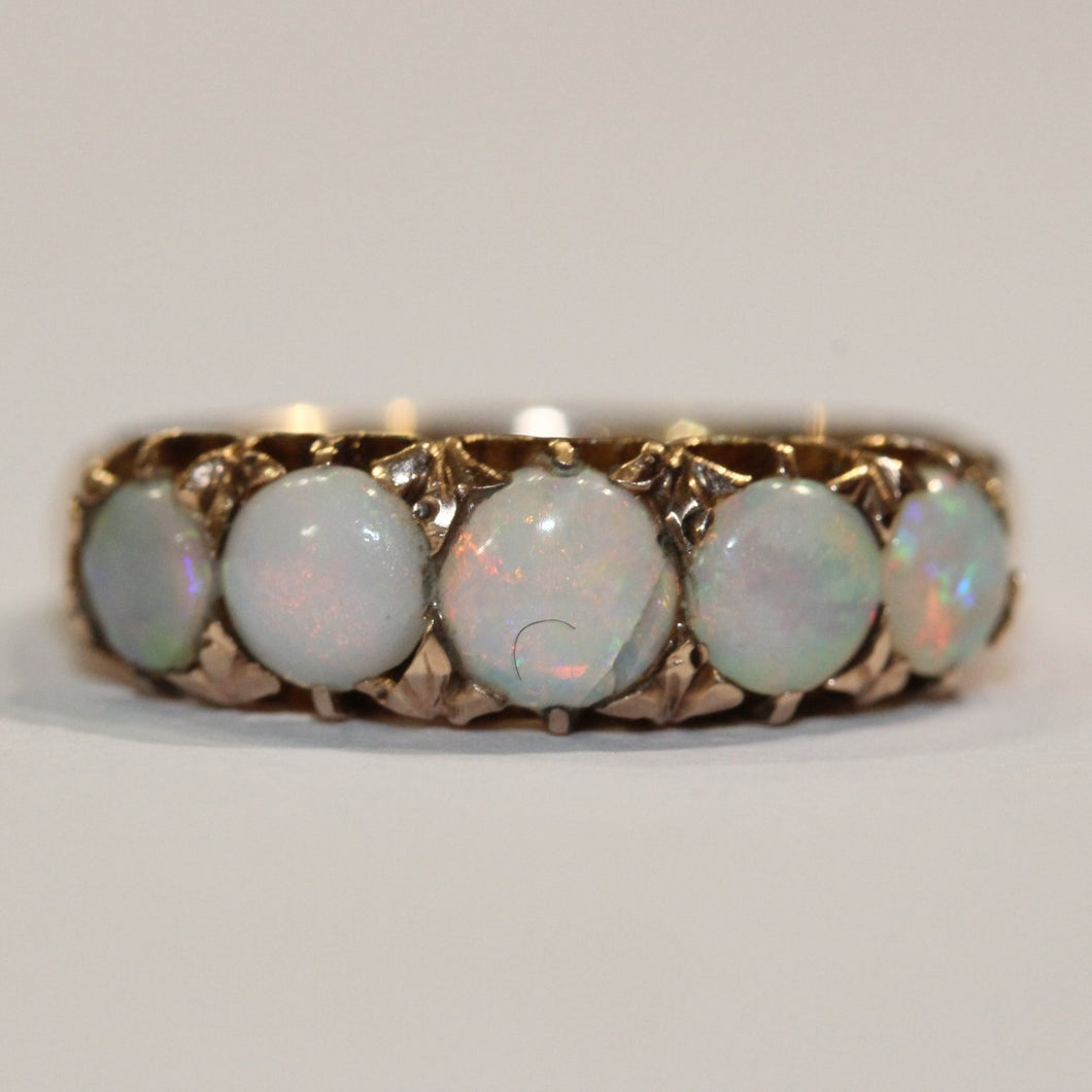 Antique 18ct Yellow Gold 2.24ct Solid Opal Bridge Ring