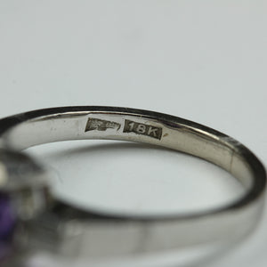 18ct White Gold Amethyst And Diamond Ring