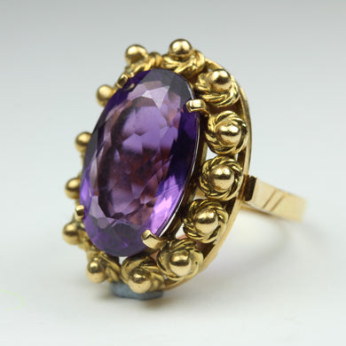18ct Yellow Gold Amethyst Cocktail Ring