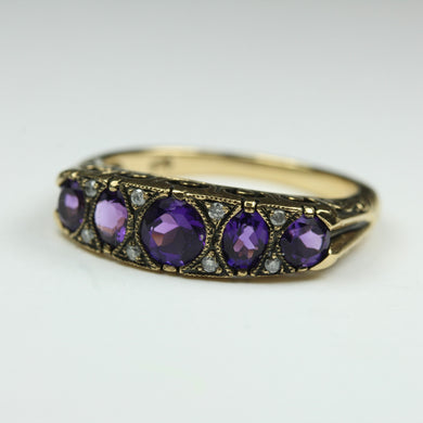 9ct Yellow Gold Amethyst Victorian Ring