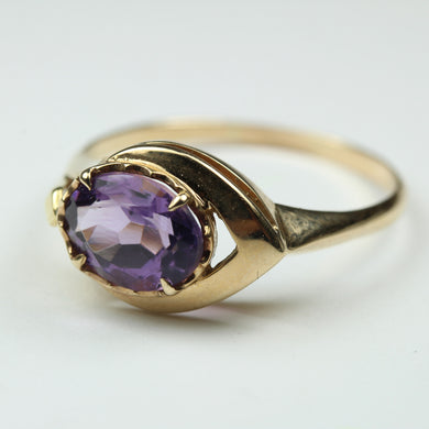9ct Yellow Gold Modern Design Amethyst Ring