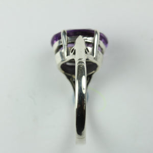 9ct White Gold Oval Cut Amethyst Ring