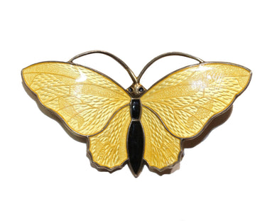 Bright Yellow Norwegian Enamel Butterfly Brooch