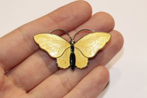 Vintage Sterling Silver Bright Yellow Norwegian Enamel Butterfly Brooch