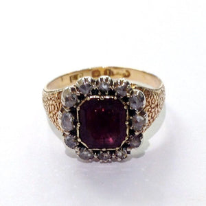 Antique 9ct Rose Gold Garnet and Old Cut Diamond Dress Ring