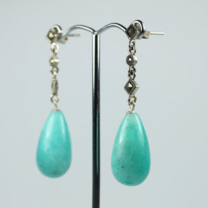 Sterling Silver Marcasite Amazonite Tear Drop Earrings