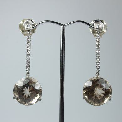 18ct White Gold Sherry Topaz And Diamonds Drop Earrings