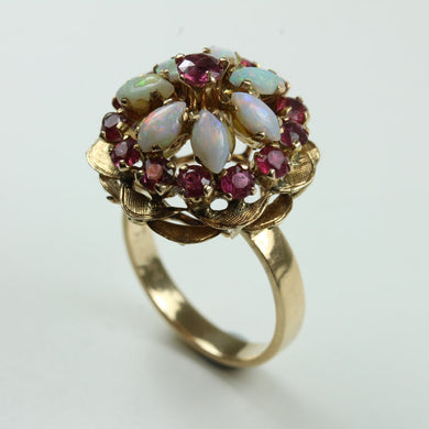 14ct Yellow Gold Ruby And White Opal Princess Ring