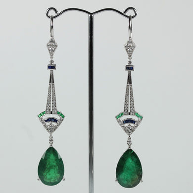 9ct White Gold Art Deco Design Emerald Sapphire And Diamond Earrings