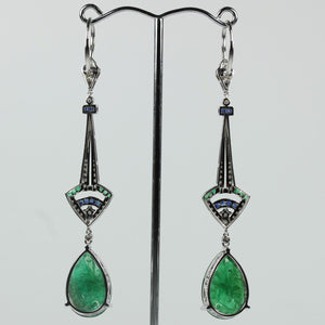 9ct White Gold Colombian Emerald, Blue Sapphire And Diamond Drop Earrings