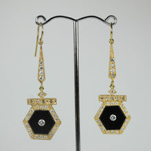 9ct Yellow Gold Onyx and Diamond Drop Earrings