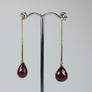 9ct Yellow Gold Briolette Ruby Drop Earrings