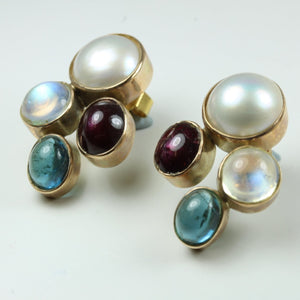 9ct Rose Gold Pearl Tourmaline Moonstone Studded Earrings