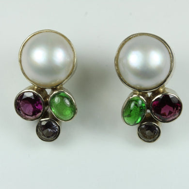 9ct Rose Gold Pearl And Tourmaline Studded Earrings