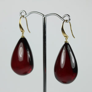 9ct Yellow Gold Cherry Amber Drop Earrings