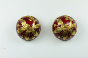 Round Crimson Red And Gold Enamel Clip On Earrings