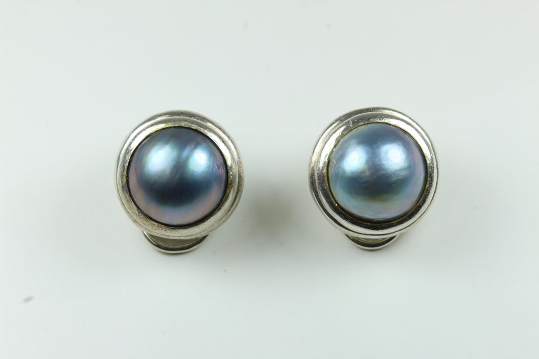 Sterling Silver Freshwater Pearl Clip On Earrings