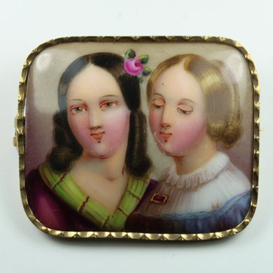Antique Enamel on Porcelain Brooch