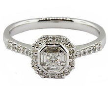 9ct White Gold Fancy Cut Diamond Cluster Engagement Ring