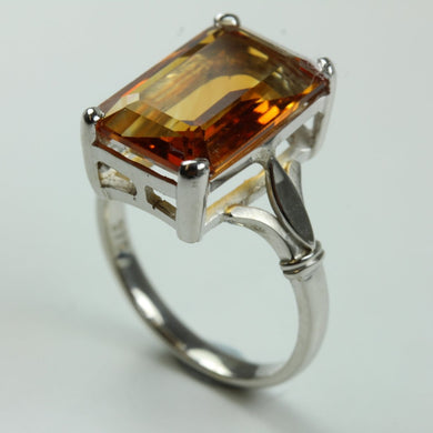 9ct White Gold Emerald Cut Citrine Ring