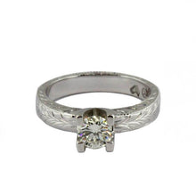 18ct White Gold Engraved Diamond Engagement Ring
